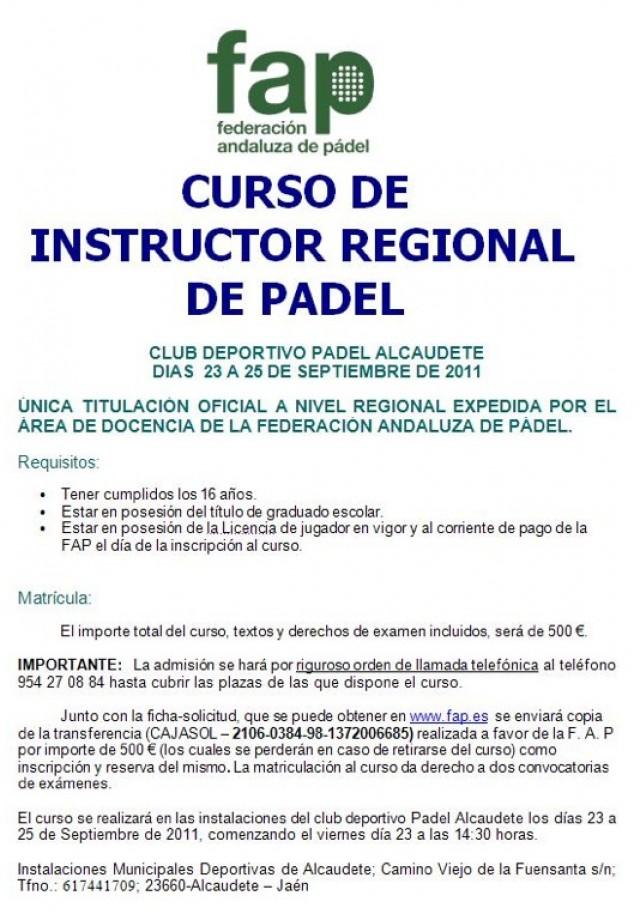 Curso Instructor regional padel padelgood e1316201435322 Curso de instructor regional de padel (Alcaudete-Jaen)