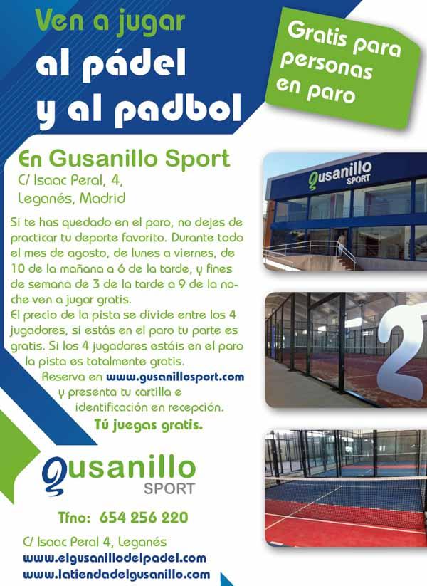 prom paro La personas en el paro juegan gratis al #padel y #padbol en Gusanillo Sport