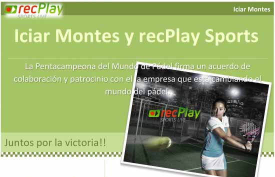 recplay recPlay Sports patrocinará a Icíar Montes