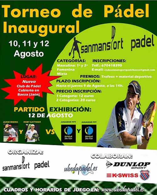 cartel torneo baeza Exhibición de Juani Mieres y Roby Gattiker en Baeza, Jaen.