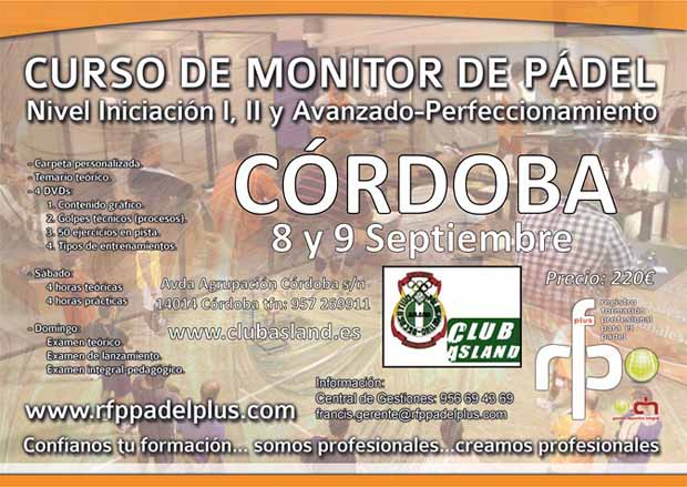 CARTEL MONITOR DE PÁDEL RFP PADEL PLUS CORDOBA WEB Curso de Monitor de Pádel en Córdoba. Por @RFPPadelPlus.