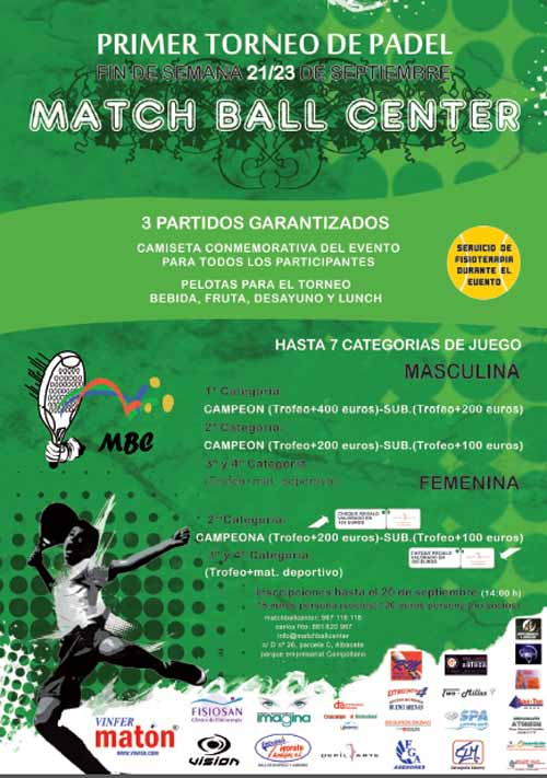 Match Ball Center Padel Club I Torneo MBC. Club de Padel Indoor de Albacete.