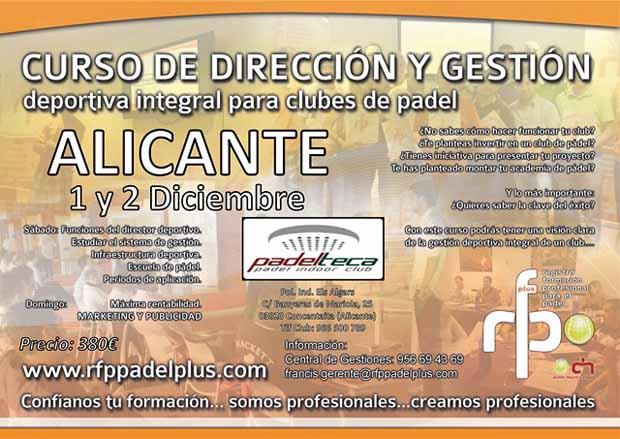 CARTEL WEB Curso de Dirección y Gestión Deportiva Integral para Clubes #Padel. Alicante