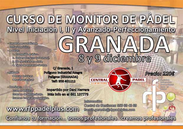 Granada monitor web Curso de Monitor de Pádel. Granada