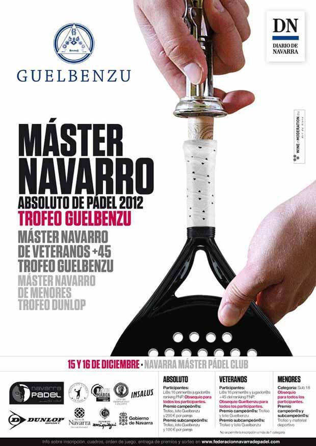 cartel guelbenzu 2012 Master Navarro de Padel 2012. Abs, Veteranos y menores.