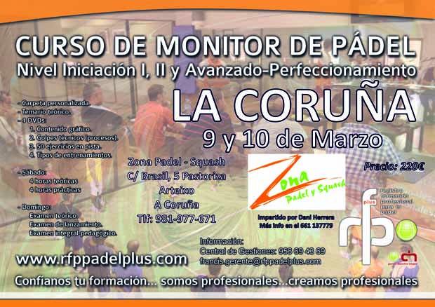 Curso Monitor de  Pádel RFP Pádel Plus, La Coruña 9-10 Marzo