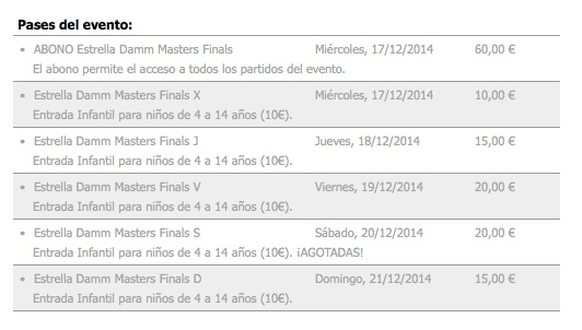 Master World Padel Tour 2014 Entradas Guía Máster World Padel Tour Femenino 2014