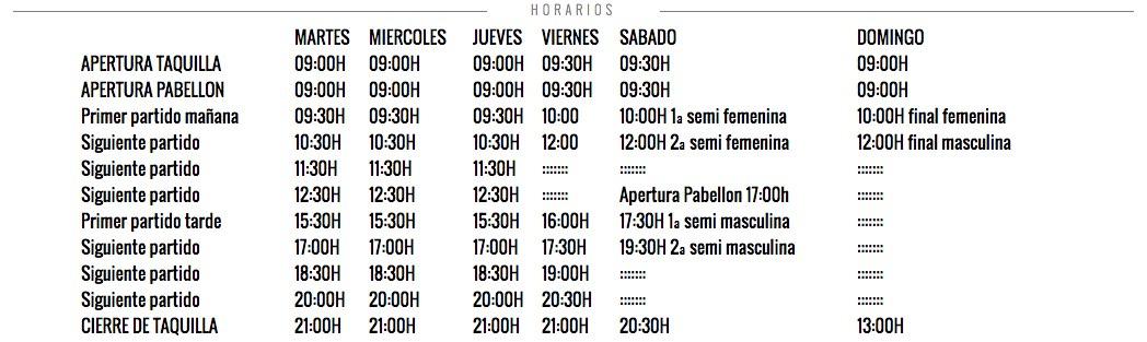 Horarios Master WPT Barcelona 2016