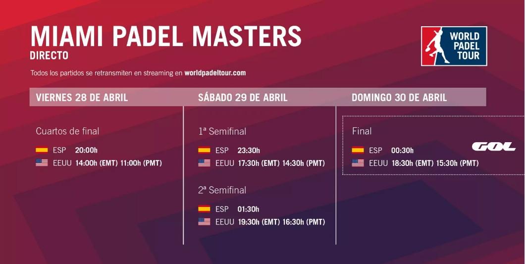 Directo Miami Padel Master Cuartos de final en directo World Padel Tour Miami Padel Masters 2017