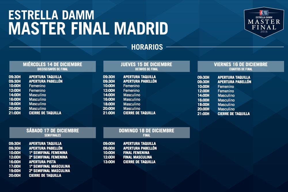 Horarios Master Final WPT 2016 Grupos y Horarios Máster Final World Padel Tour Madrid 2016
