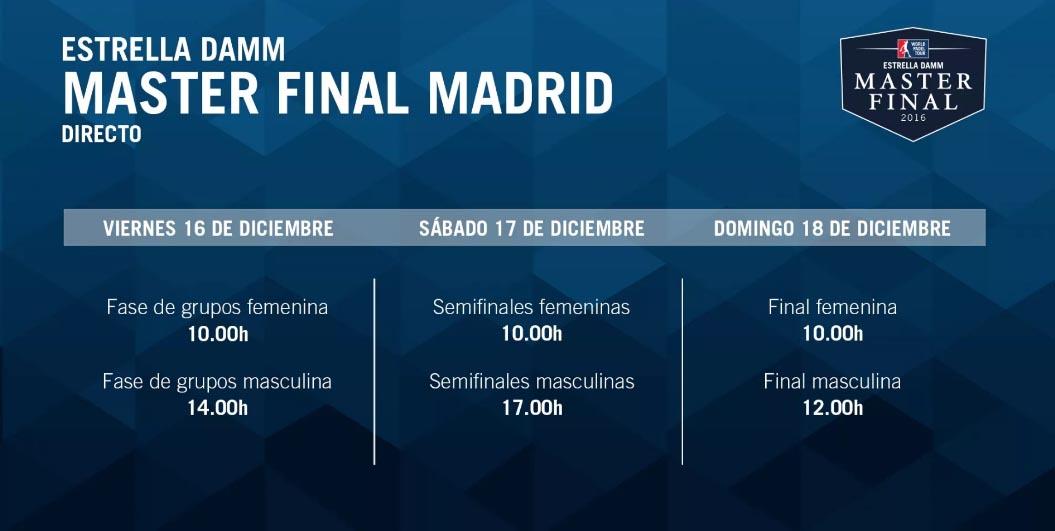 Master Final WPT 2016 en directo Grupos y Horarios Máster Final World Padel Tour Madrid 2016