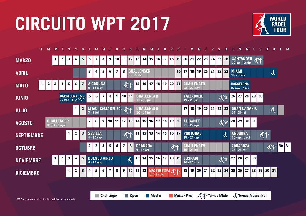 Calendario circuito WPT 2017 Calendario oficial World Padel Tour 2017