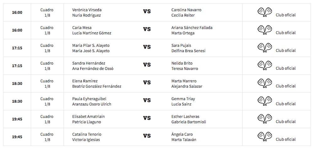Octavos fem WPT Santander 2017 Horarios y enfrentamientos octavos de final World Padel Tour Santander 2017