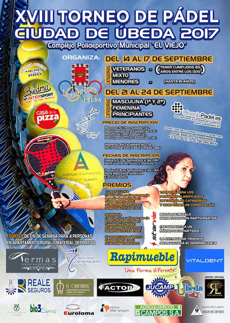 """XVIII Torneo de pádel Ciudad de Úbeda XVIII Torneo de pádel """"Ciudad de Úbeda"""""""