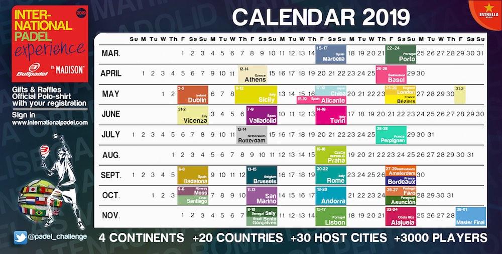 Calendario International Padel Experience by Madison 2019 El International Padel Experience by Madison llegará a 20 países en 2019